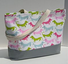 PInk Daschund Wiener Dogs Cotton Canvas Handmade Women's Beach, Purse, Diaper, Shopper, Tote Bag on Etsy, Sold
