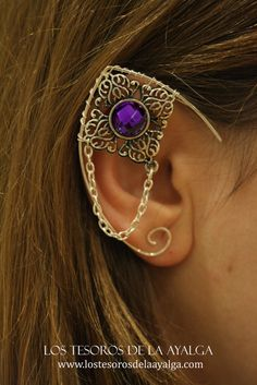 Elvish earring • ear cuff • elvish ear - PURPLE