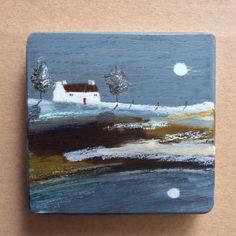 "Mini Mixed Media Art on wood By Louise O'Hara - ""Midnight blue"" Detail Art, Medium Art, Solid Oak, Midnight Blue, Mixed Media Art, Wood Art, Original Artwork, Pastel, Ink"