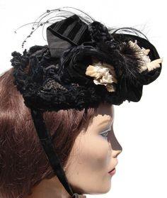 Victorian Hat Silk Bonnet Velvet Trim