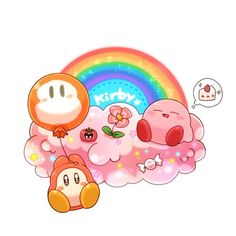 Kirby sleeping on a cloud and Waddle Dee floating holding a Waddle Dee balloon