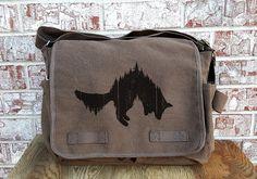 Retro Messenger Bag  Fox and Forest  Cotton by CrawlspaceStudios