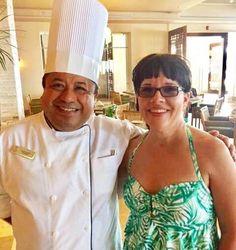 Carla Spacher and Buffet Chef from Hyatt Ziva Puerto Vallarta Review - http://glutenfreerecipebox.com/gluten-free-dining-at-the-hyatt-ziva-puerto-vallarta-food-allergy/ #glutenfree #restaurants #foodallergies