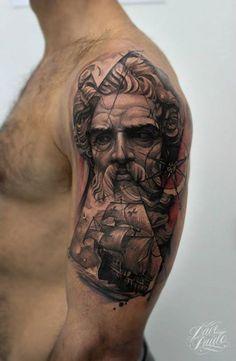 Poseidon god's statue by Dave Paulo.