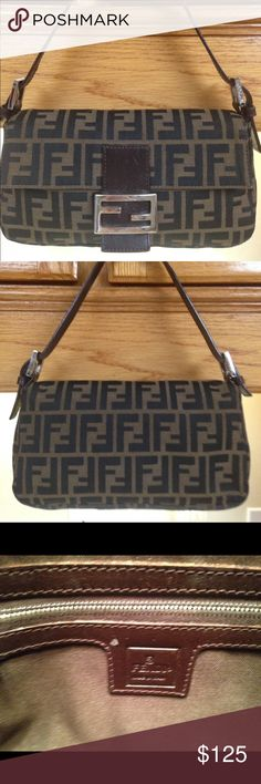 325b62affb Fendi handbag black leather and khaki canvas Fendi black and khaki small bag  in great condition silver hardware has minor scratches as shown in pictures  ...