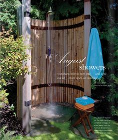 Outdoor shower, like the bamboo. Could use bamboo fencing rolls too Outdoor Baths, Outdoor Bathrooms, Outdoor Living Rooms, Outdoor Spaces, Outdoor Decor, Outside Showers, Outdoor Showers, Jardin Luxuriant, Garden Shower