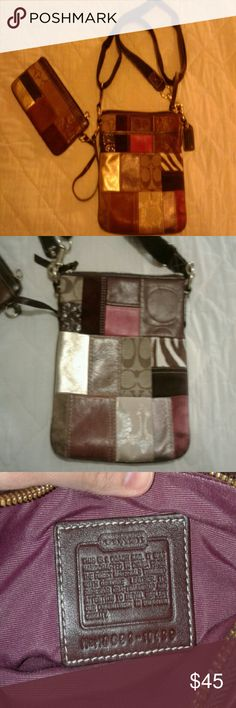 Coach Patchwork crossbody Purse with coin purse Beautiful, still smells of leather .  Coach multi pattern Patchwork crossbody purse! Beautiful red brown and gold patterns. Front open pocket and zippered main pocket with clean brown interior. Adjustable strap great condition! Coach Bags Crossbody Bags