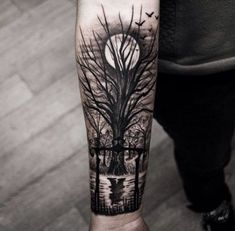 New tree tattoo men arm forests guys Ideas Wolf Tattoo Sleeve, Best Sleeve Tattoos, Tattoo Sleeve Designs, Tattoo Designs Men, Forest Tattoo Sleeve, Tattoo Moon, Forearm Band Tattoos, Forarm Tattoos, Leg Tattoos