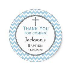Blue Gray Chevron Boys Baptism Thank You Favor Tag
