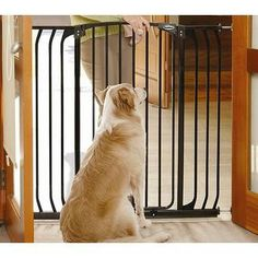 Swing gate opens in either direction and swings closed automatically. Gate is held in doorways or between walls with pressure mount design using thick rubber pads that press against the sides.