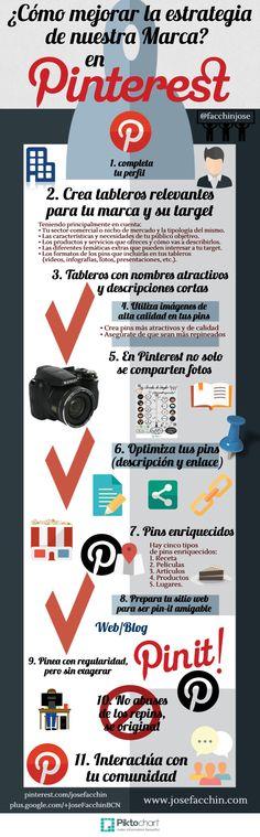 #Infografia #RedesSociales ¿Cómo mejorar la estrategia de nuestra empresa en Pinterest? #TAVnews