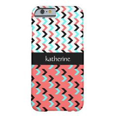 Personalized iPhone case, black, rose & aqua Aztec chevron pattern, add your name on the black ribbon across the center. Select CUSTOMIZE to see other device case options with this design