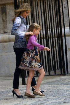 Spanish Crown Princess Letizia and Princess Sofia attend Easter Mass at the Cathedral of Palma de Mallorca on 20.04.14 in Palma de Mallorca, Spain.