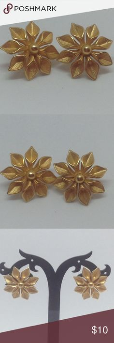 The Golden Flower Earrings These are super cute earrings! Has a golden apple vibe to it. But it's a flower instead! Used gently but has been cleaned. In very good condition. This use to be my grandmothers earrings. Jewelry Earrings