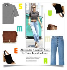 """""""Alessandra Ambrosio Nails This Summer Jeans Look"""" by sofirose ❤ liked on Polyvore featuring Monki, RE/DONE, H&M, Gianvito Rossi, River Island and White Label"""