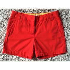 """J. Crew Weathered Chino Classic Twill Shorts J. Crew """"Weathered"""" Chino Classic Twill Shorts in Coral Red. Condition:  Gently worn, but free of rips, stains, odors Material: 100% cotton Size: 2 Inseam: 5"""" Rise: 8.5"""" Waist: 30"""" J. Crew Shorts"""