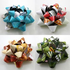 We love these recycled magazine gift bows. Holiday Crafts, Fun Crafts, Diy And Crafts, Christmas Crafts, Paper Crafts, Christmas Bows, Christmas Presents, Recycled Magazines, Recycled Crafts
