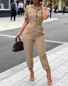 Short Sleeve Buttoned Cargo Jumpsuit - Jumpsuits and Romper Trend Fashion, Look Fashion, Jumpsuit With Sleeves, Jumpsuit Outfit, Printed Jumpsuit, Womens Fashion Online, Fashion Women, Jumpsuits For Women, Fashion Jumpsuits