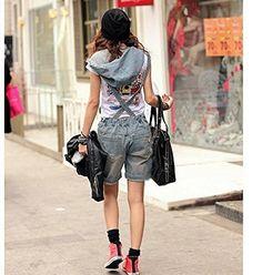 Minetom Damen Short Jeans Overall Hosenanzug Jumpsuit Hose Jeans Overall…