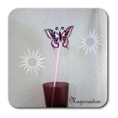 PAPILLON ROSE PIQUE PLANTE MAEVA - Boutique www.magicreation.fr