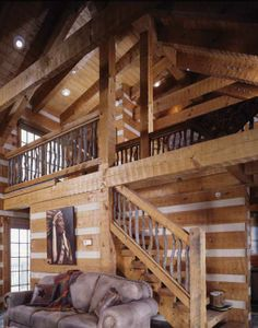 Banisters along the stairway and loft in the guesthouse are formed from scrub oak cleared from the property during construction.