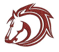 Red horse embroidery design. Animals embroidery