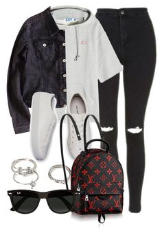 """""""Untitled #11983"""" by vany-alvarado ❤ liked on Polyvore featuring Topshop, SJYP, Versace, Forever 21 and Ray-Ban"""
