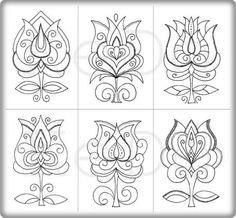 Shabby Chic Embroidery, Embroidery Patterns, Hand Embroidery, Bird Coloring Pages, Hungarian Embroidery, Flower Ornaments, Flower Doodles, Dots Design, Tatoo