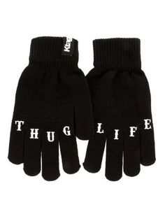 """Thug Life"" Knit Gloves by Ktag Clothing (Black) 