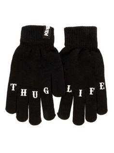 """Thug Life"" Knit Gloves by Ktag Clothing (Black) | Inked Shop - www.inkedshop.com#inked #inkedmag #inkedgirls #inkedguys #thuglife #gloves #black"