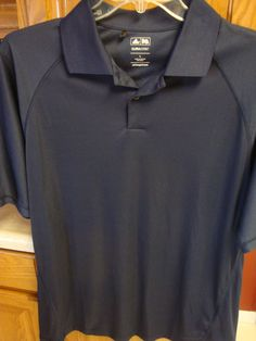Adidas Climacool Mens Polo Golf Shirt LARGE L Short Sleeve Navy Blue Performance #adidas #PoloRugby