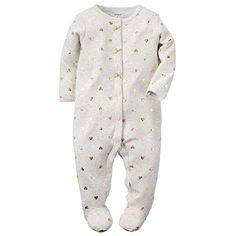 Carter's Baby Girls' Cotton Snap-Up Sleep & Play (9 Months, Gold Hearts)