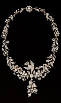 An antique silver, gold and diamond necklace, French, 19th century. #antique #necklace