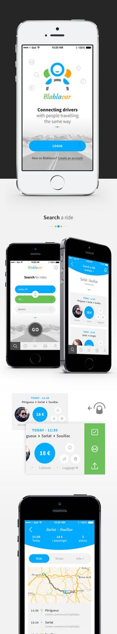 Blablacar App Concept by Angelique Calmon on Behance