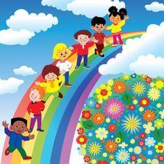 Children with rainbow design vector 01