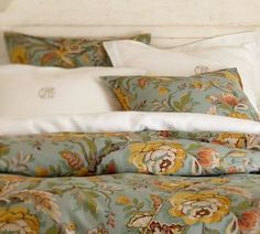Love the Vanessa Floral duvet cover and sham fabric from Pottery Barn (these are our dining room curtains)
