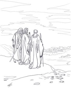Jesus On The Road To Emmaus Coloring Page From Resurrection Category Select 27278 Printable Crafts Of Cartoons Nature Animals Bible And Many