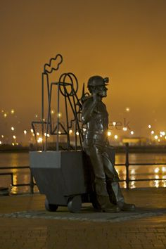 Cardiff Bay miner, from Pit  to Port - Cardiff Bay, Cardiff, Wales, UK