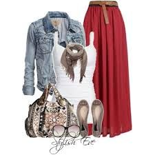 Red maxi skirt goes perfectly with this outfit