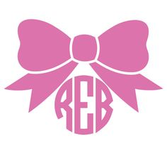 Circle Font Monogram Bow Decal ONE COLOR by foxandcloverboutique, $4.00