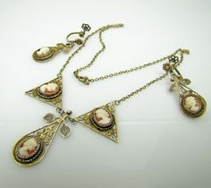 Victorian Cameo Drop Pendant Earrings And Lavalier Necklace Suite Set. Gold Vermeil Sterling Silver Filigree. Antique Edwardian Jewelry by MercyMadge on Etsy