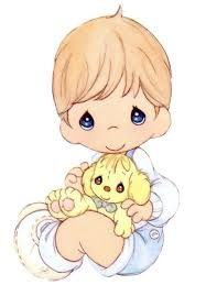 Precious Moments Little Boy Holding Toy Bunny - Color Image
