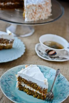 vegan carrot cake with coconut whipped cream.