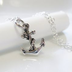 Anchor Charm Necklace Sterling Silver  SEASIDE by SusiDjewelry, $28.00