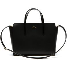 Black Women's Chantaco Dual Carry Gusseted Piqué Leather Tote Bag (2.200 DKK) ❤ liked on Polyvore featuring bags, handbags, tote bags, tote handbags, genuine leather handbags, handbag tote, genuine leather purse and leather handbags