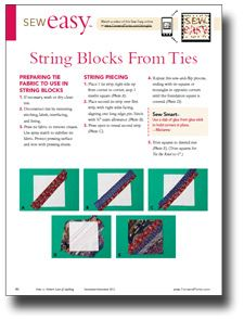 String Quilt Blocks from Ties