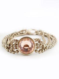 Pink Gemstone Gold Multilayer Bead Chain Bracelet