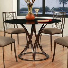 Valetijn Dining Table Coffee Brown Iron 48 Round Brown Glass Top from Dynamic Home Decor. Saved to Epic Wishlist.