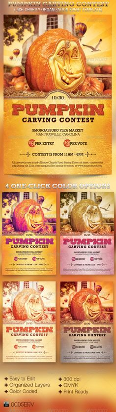 Pumpkin Carving Contest Charity Flyer Template $6.00