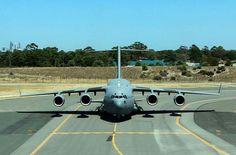 36SQN C-17A A41-206 holding short Perth International Airport
